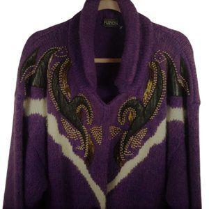 Vintage oversized knit long cardigan coat beaded